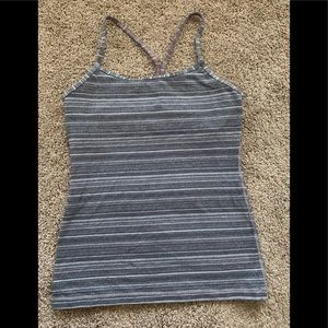 Lululemon Power Y Tank Grey Stripe Sz 6